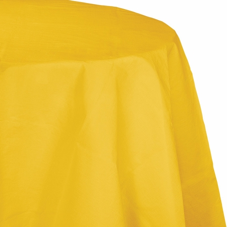 Touch of Color School Bus Yellow Octy-Round Paper Tablecloths in quantities of 1 / pkg, 12 pkgs / case