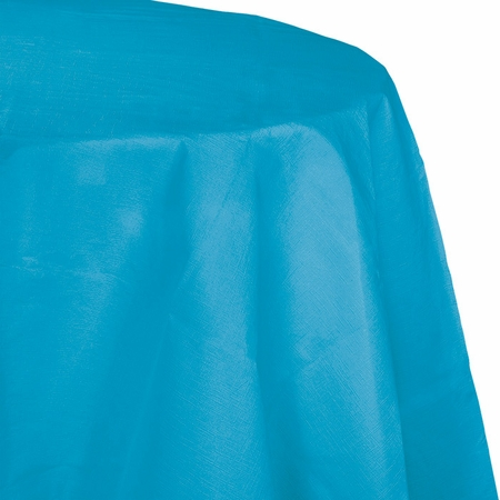 Touch of Color Turquoise Octy-Round Paper Tablecloths in quantities of 1 / pkg, 12 pkgs / case