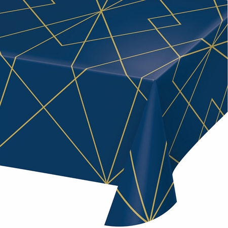 Navy Blue and Gold Foil Plastic Tablecloths 6 ct