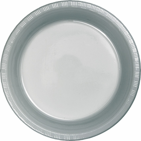 Touch of Color Shimmering Silver Plastic Banquet Plates in quantities of 20 / pkg, 12 pkgs / case