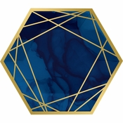 Navy Blue and Gold Foil Dinner Plates 96 ct