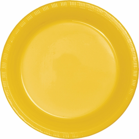 Touch of Color School Bus Yellow Plastic Banquet Plates in quantities of 20 / pkg, 12 pkgs / case