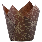 """3.5"""" Small Fancy Floral Paper Tulip Cups 500 ct"""