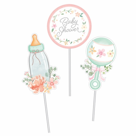 Country Floral Baby Shower Centerpieces Sticks 18 ct
