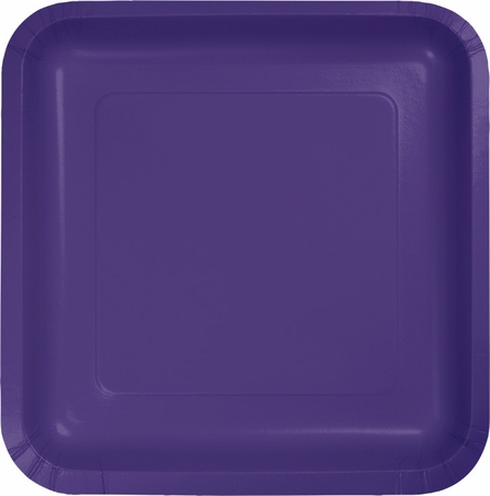 Touch of Color Purple Square Dessert Plates in quantities of 18 / pkg, 10 pkgs / case