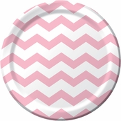 Pink and white Chevron Dinner Plates measure 8.75 inches and are sold in quantities of 8 / pkg, 12 pkgs / case