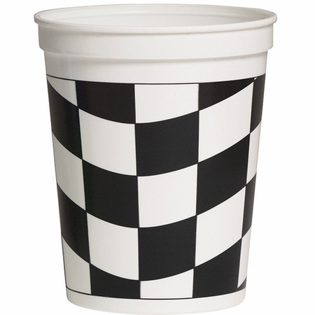Black and White Check Stadium Cups 12 ct