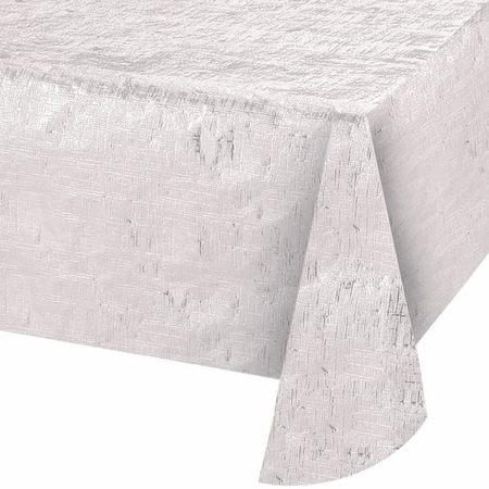 Opalescent White Metallic Tablecloths 12 ct