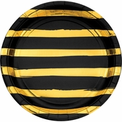 Black and Gold Foil Striped Dinner Plates 96 ct