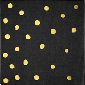 Black and Gold Foil Dot Beverage Napkins 192 ct