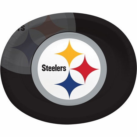 Black, white and gold Pittsburgh Steelers Oval Platters sold in quantities of 8 / pkg, 12 pkgs / case