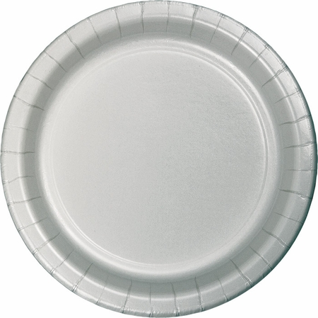 Touch of Color Shimmering Silver Dinner Plates in quantities of 24 / pkg, 10 pkgs / case
