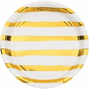 White and Gold Foil Striped Dinner Plates 96 ct