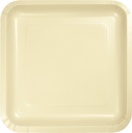 Touch of Color Ivory Square Dinner Plates in quantities of 18 / pkg, 10 pkgs / case