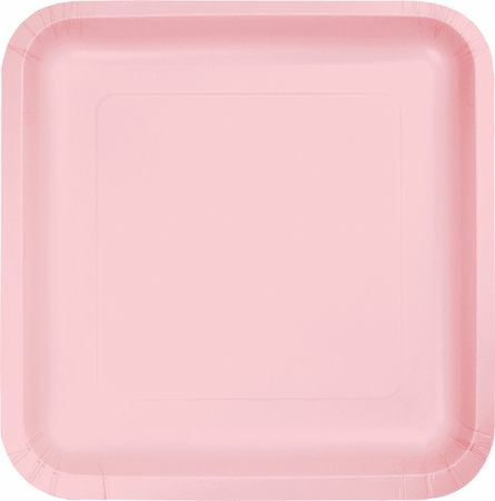 Touch of Color Classic Pink Square Dinner Plates in quantities of 18 / pkg, 10 pkgs / case