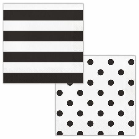 Black Polka Dots and Stripes Luncheon Napkins 192 ct