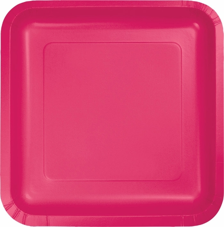Touch of Color Hot Magenta Square Dinner Plates in quantities of 18 / pkg, 10 pkgs / case