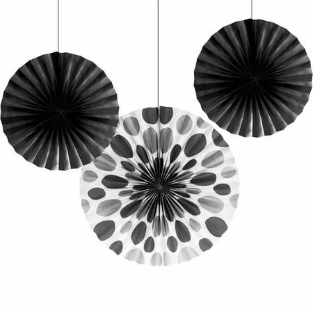 Black Solid & Polka Dots Tissue Fans sold in quantities of 3 / pkg, 6 pkgs / case