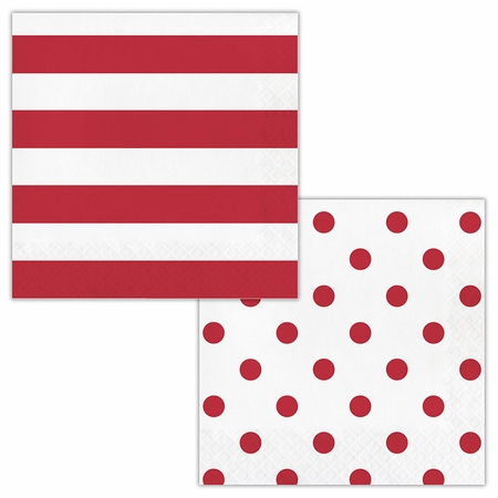 Red Polka Dots and Stripes Luncheon Napkins 192 ct
