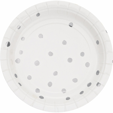 White and Silver Foil Dot Dessert Plates 96 ct