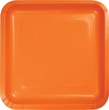Touch of Color Sunkissed Orange Square Dinner Plates in quantities of 18 / pkg, 10 pkgs / case