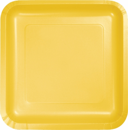 Touch of Color School Bus Yellow Square Dinner Plates in quantities of 18 / pkg, 10 pkgs / case