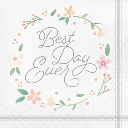 Country Floral Best Day Ever Luncheon Napkins 192 ct