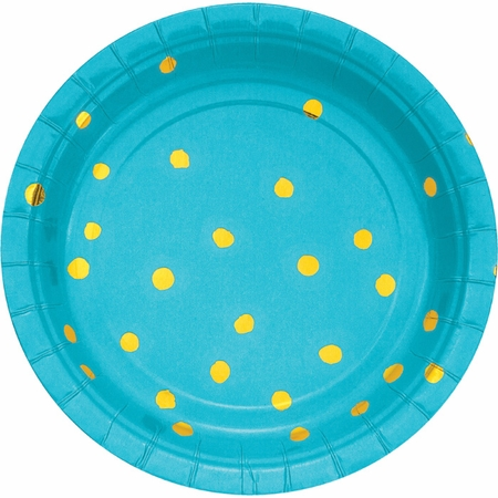 Bermuda Blue and Gold Foil Dot Dessert Plates 96 ct
