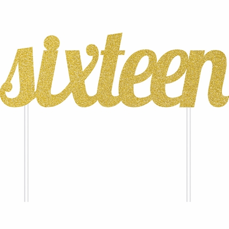 Gold Glitter 16th Birthday Cake Toppers 12 ct