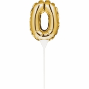 0 Gold Number Balloon Cake Toppers 12 ct