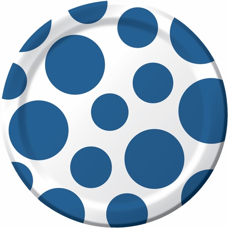 Blue and white Polka Dots Dessert Plates measure 6.875 inches and are sold in quantities of 8 / pkg, 12 pkgs / case