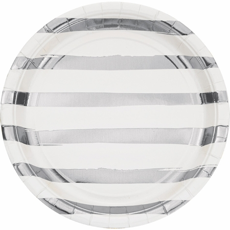 White and Silver Foil Striped Dinner Plates 96 ct