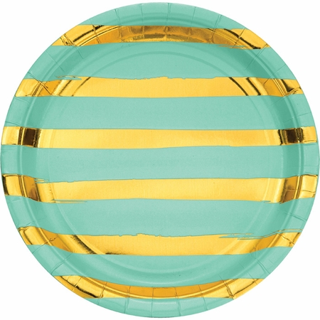 Fresh Mint Green and Gold Foil Striped Dinner Plates 96 ct