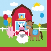 Red and green Farmhouse Fun Luncheon Napkins are sold in quantities of 18 / pkg, 12 pkg / case