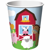 Red and green Farmhouse Fun 9 Oz Cups are sold in quantities of 8 / pkg, 12 pkgs / case