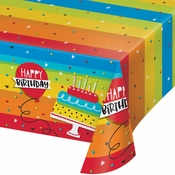 Rainbow Cake Plastic Tablecloths 6 ct