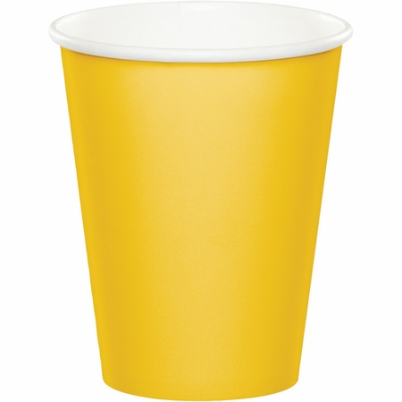 Touch of Color School Bus Yellow 9 oz Hot & Cold Cups in quantities of 24 / pkg, 10 pkgs / case