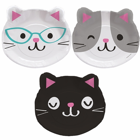 Cat Party Assorted Kitten Shaped Dinner Plates 96 ct