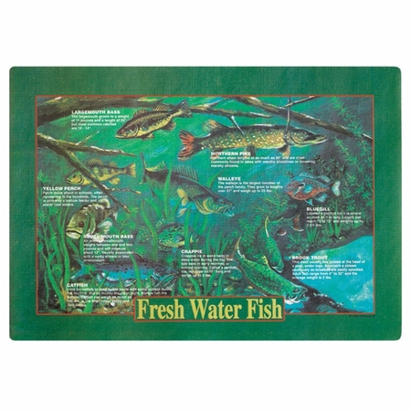 "Green Fresh Water Fish Dollar-wise 9.75"" x 14"" Placemat in quantities of 1,000 / case"