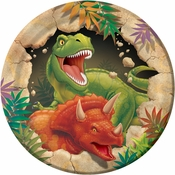 Green, orange and tan Dino Blast Dessert Plates sold in quantities of 8 / pkg, 12 pkgs / case.