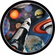 Black and blue Space Blast Dessert Plates are sold in quantities of 8 / pkg, 12 pkgs / case