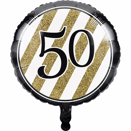 Black and Gold 50th Birthday Mylar Balloons 10 ct