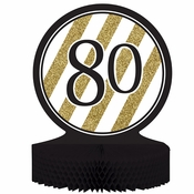 Black and Gold 80th Birthday Centerpieces 6 ct