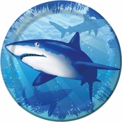 Blue Shark Splash Dessert Plates sold in quantities of 8 / pkg, 12 pkgs / case