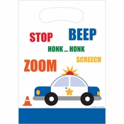 Blue and white Traffic Jam Loot Bags sold in quantities of 8 / pkg, 12 pkgs / case