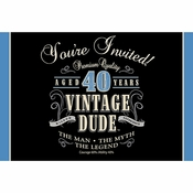 Vintage Dude 40th Birthday Invitations 48 ct