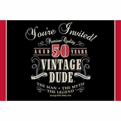 Vintage Dude 50th Birthday Invitations 48 ct