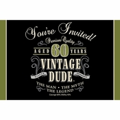 Vintage Dude 60th Birthday Invitations 48 ct