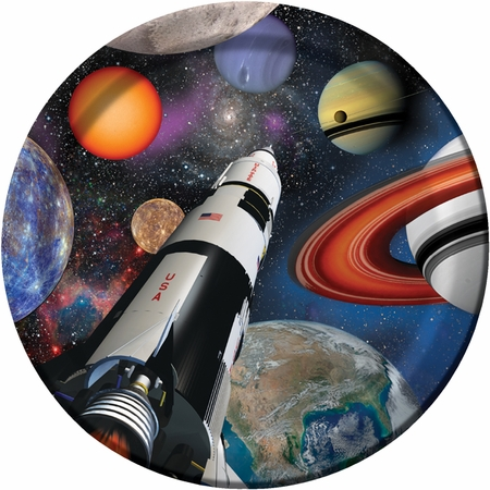 Black and blue Space Blast Dinner Plates are sold in quantities of 8 / pkg, 12 pkgs / case