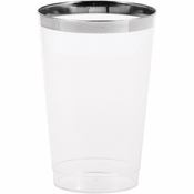 12 oz Plastic Glasses with Silver Rim